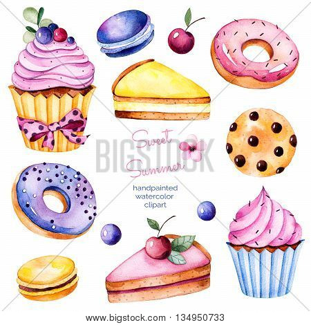 Sweet summer collection with donuts, berries, lemon and cherry cheesecakes, cherry,macaroons, tasty cupcakes, cookies.