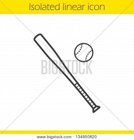Baseball bat and ball linear icon. Softball thin line illustration. Baseball player's equipment contour symbol. Vector isolated outline drawing