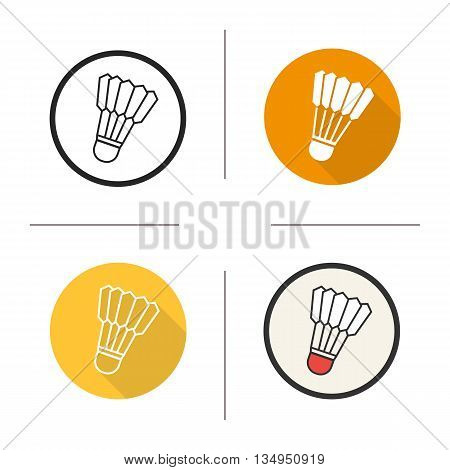 Shuttlecock icon. Flat design, linear and color styles. Badminton ball isolated vector illustrations