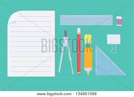 Stationery for student in top view. Many object on green background.