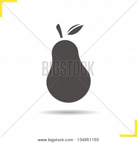Pear icon. Drop shadow ripe pear silhouette symbol. Seasonal juicy fruit. Vector isolated illustration