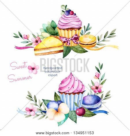 Sweet summer collection with flowers, leaves, succulent plant, branches, pansy flower, macaroons, lemon cheesecake and cupcakes.