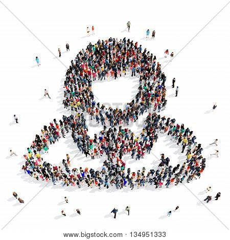Large and creative group of people gathered together in the shape of a consultant . 3d illustration, isolated, white background.