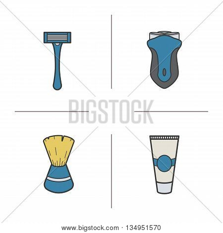 Shaving accessories color icons set. Electric shaver, razor, shaving brush and aftershave cream. Vector isolated illustrations