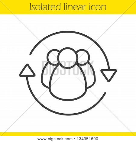 Team management linear icon. Company workers. Personnel thin line illustration. Employees contour symbol. Vector isolated outline drawing