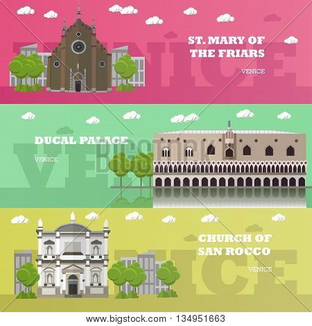 Madrid tourist landmark banners. Vector illustration with Spain famous buildings. Travel to Spain concept.