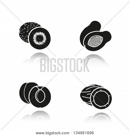 Fruit drop shadow black icons set. Halved kiwifruit, cutted papaya, sliced apricot and opencoconut. Isolated vector illustrations