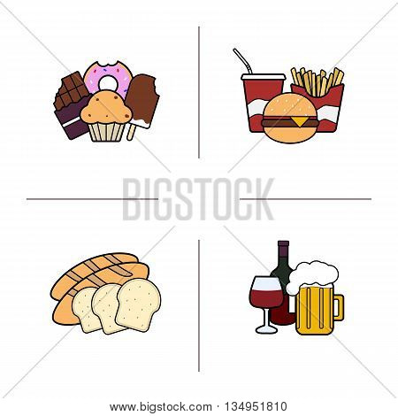 Food color icons set. Confectionery, fastfood, bakery and alcohol. Vector isolated illustrations