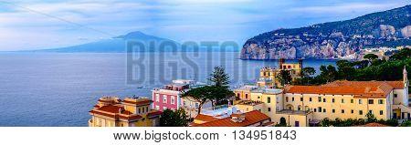 Sorrento panorama Vesuvius and mediterranean sea. Campania Italy