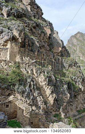 Ollantaytambo - old Inca fortress in the Sacred Valley in Andes Cusco Peru