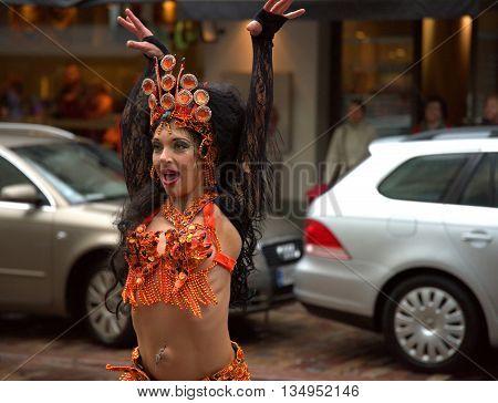 HELSINKI, FINLAND - JUNE 18: Unidentified dancer in Samba procession at the 26th Helsinki Samba Carnaval on Pohjoisesplanadi street  in Helsinki where Samba schools compete against each other June 18, 2016 in Helsinki, Finland.