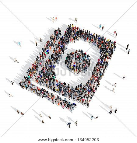Large and creative group of people gathered together in the shape of a dollar . 3d illustration, isolated, white background.