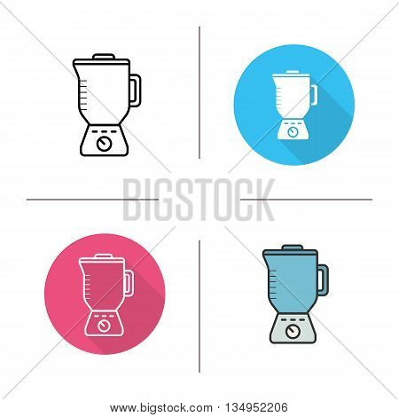 Blender icon. Flat design, linear and color styles. Food processor isolated vector illustrations