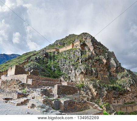 Ollantaytambo - Old Inca Fortress In The Sacred Valley In  Andes