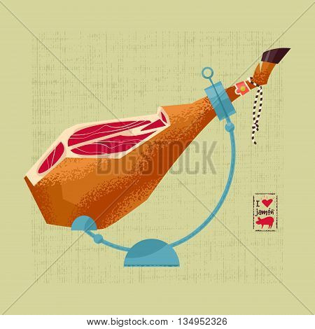 Traditional spanish food. Jamón. Dry-cured Spanish ham. Vector illustration