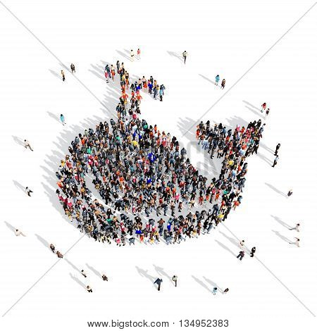 Large and creative group of people gathered together in the shape of a whale . 3d illustration, isolated, white background.