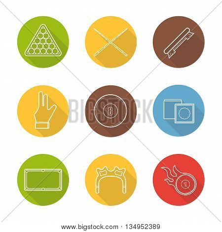 Billiard flat linear long shadow icons set. Billiard ball rack, cues, brush, glove, eight ball, chalk, table, rest head, burning ball. Vector