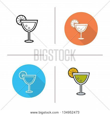 Margarita icon. Flat design, linear and color styles. Martini isolated vector illustrations