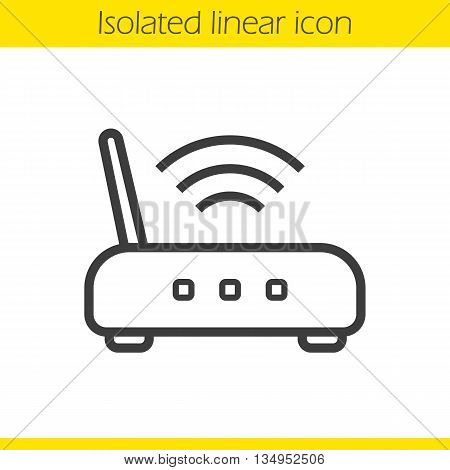 Wi fi router linear icon. Thin line illustration. Wifi signal contour symbol. Vector isolated outline drawing