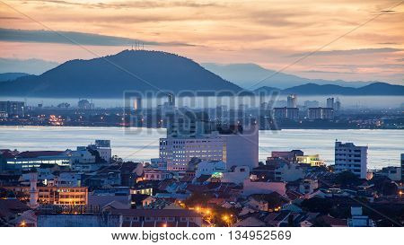 Sunrise view of George Town City, Penang, Malaysia