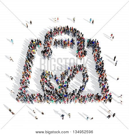 Large and creative group of people gathered together in the shape of a environmental bag, ecology . 3d illustration, isolated, white background.