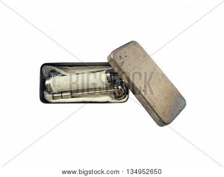 Vintage syringe set isolated on white background (clipping path included)