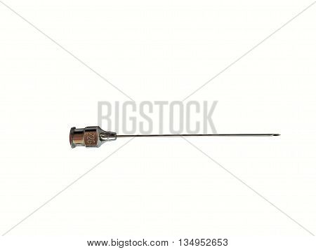 Vintage steel needle isolated on white background (clipping path included)