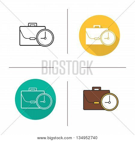 Work time icon. Flat design, linear and color styles. Working hours isolated vector illustrations
