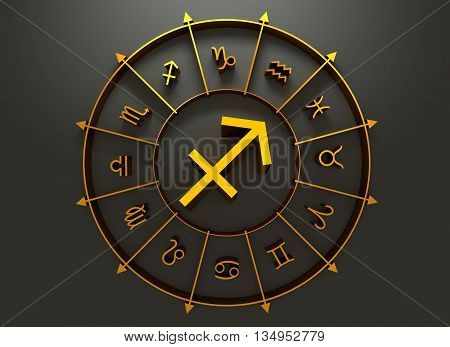 Archer astrology sign. Golden astrological symbol. 3D rendering