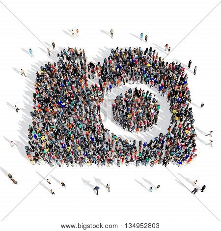 Large and creative group of people gathered together in the shape of a camera, pictures . 3d illustration, isolated, white background.