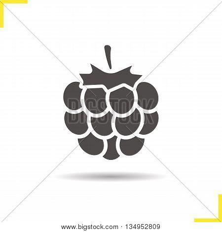 Raspberry icon. Drop shadow blackberry silhouette symbol. Raspberry berry. Vector isolated illustration