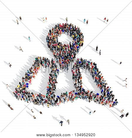Large and creative group of people gathered together in the shape of a MAP Point. 3d illustration, isolated, white background.