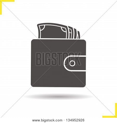 Wallet with money icon. Drop shadow silhouette symbol. Men's purse. Vector isolated illustration