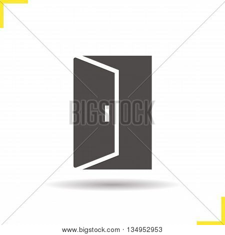 Open door icon. Drop shadow doorway silhouette symbol. Building exit. Vector isolated illustration