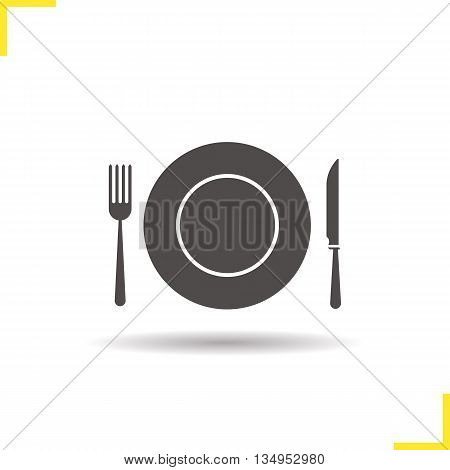 Eatery icon. Drop shadow restaurant and cafe silhouette symbol. Tableware set. Vector isolated illustration
