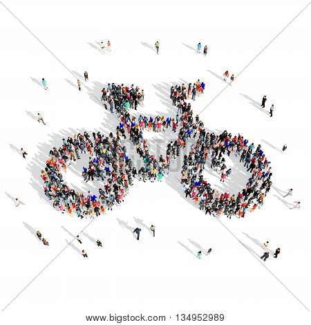 Large and creative group of people gathered together in the shape of a bike . 3d illustration, isolated, white background.