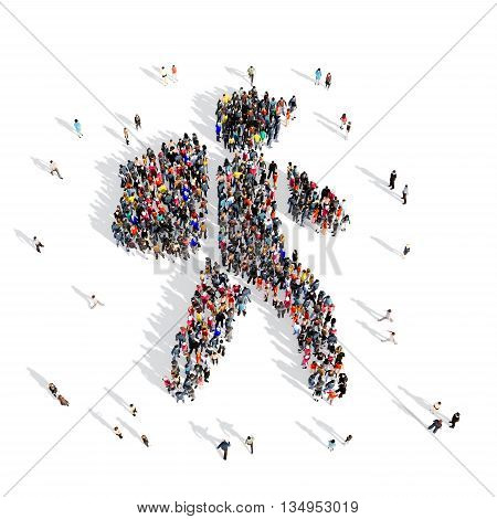 Large and creative group of people gathered together in the shape of the traveler . 3d illustration, isolated, white background.