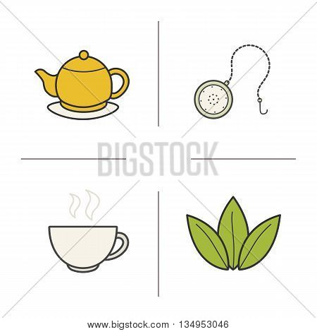Tea color icons set. Steaming cup, teapot on plate, loose tea leaves and ball infuser. Vector isolated illustrations