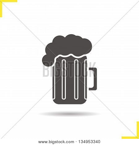 Beer mug icon. Drop shadow lager glass silhouette symbol. Foamy beer pint. Vector isolated illustration