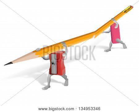 Help concept with sharpener and eraser carrying an injured pencil isolated on white.