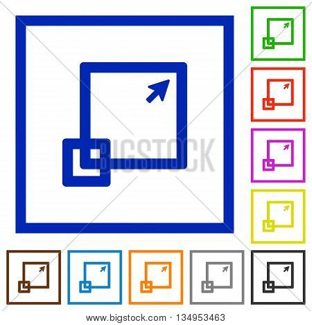 Set of color square framed maximize window flat icons