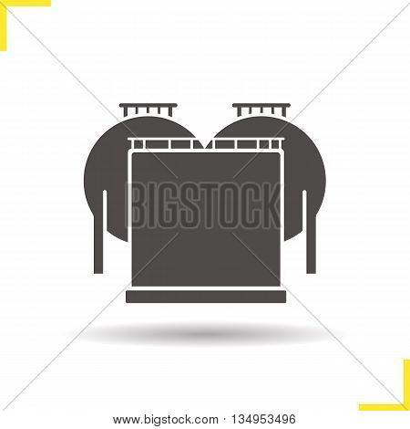Petroleum tank icon. Drop shadow oil reservoir silhouette symbol. Gas and petrol industry. Vector isolated illustration