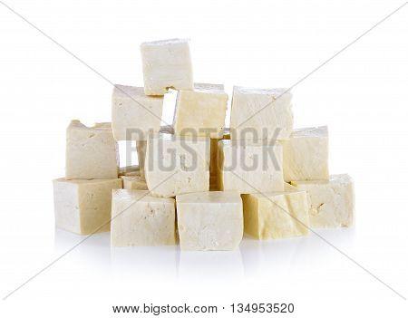 fresh tofu isolated on a white background