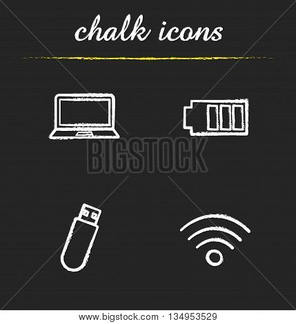 Computer icons set. Laptop, battery charge level, usb flash drive and wi fi signal illustrations. Isolated vector chalkboard drawings