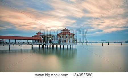Sunrise view of QEII Jetty of George Town, Penang