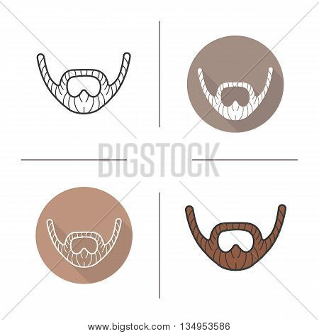 Beard icon. Flat design, linear and color styles. Adult man facial hair. Mustache isolated vector illustrations