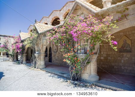 Monastery on Mount Filerimos on Rhodes in Greece built by the Knights of Saint John. Doors to hermits cells