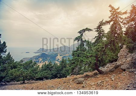 Beautiful Tsambika viewpoint landscape from mountain . HDR photo