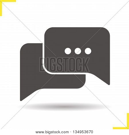 Chat bubbles icon. Drop shadow discussion silhouette symbol. Chat box vector isolated illustration
