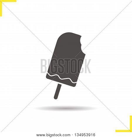 Ice cream icon. Drop shadow silhouette symbol. Icecream. Vector isolated illustration